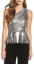 Eliza J Women's One-Shoulder Sequin Peplum Top