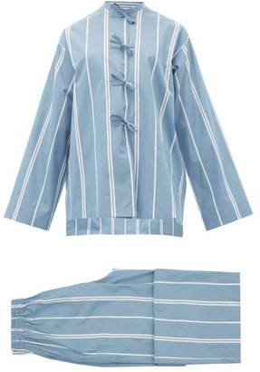 Jil Sander Monogram-embroidered Striped Cotton Pyjamas - Blue Multi