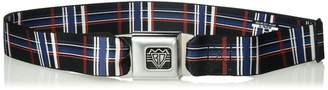 "Buckle Down Buckle-Down Unisex-Adult's Seatbelt Belt Plaid XL Black/red/White/Blue 1.5"" Wide-32-52 Inches"