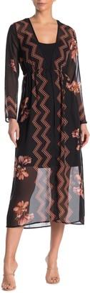 Kenedik Floral Chevron Print Kimono Dress