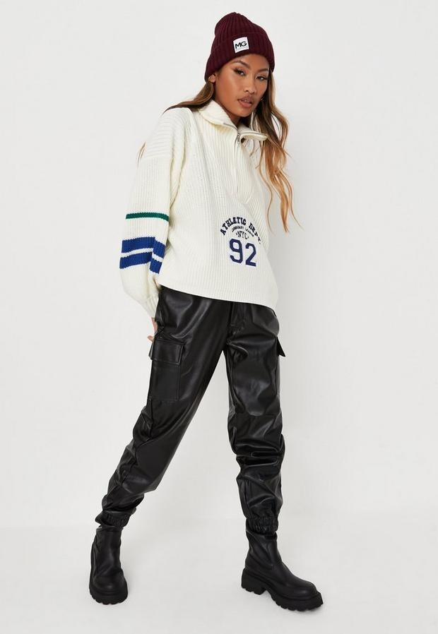 Missguided Black Faux Leather Cargo Pants
