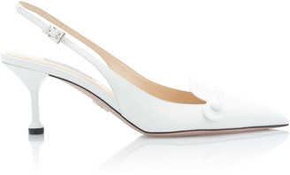 Prada Croc-Effect Leather Slingback Pumps