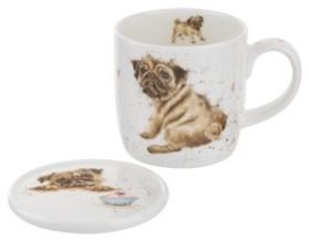 "Royal Worcester Wrendale 11 oz Pug Mug & Coaster ""Pug Love"""