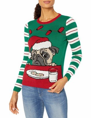 Ugly Christmas Sweater Junior's Light Up - Pug W/Cookies and Milk
