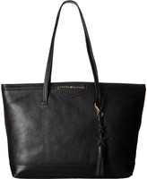Tommy Hilfiger Tassel Pebble Leather Tote Tote Handbags