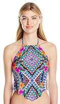 Kenneth Cole Reaction Women's Adventure Awaits Geometric V-Front Tankini With Removable Cups