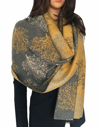 The Accessory Co. Women Mulberry Tree Blanket Scarf - Winter Scarfs Reversible Pashmina Shawl Women's scarves and wraps Ladies scarf thick blanket Warm Scarf large wrap Tree of Life Womens (Mustard/Grey)