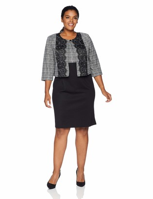Danny And Nicole Danny & Nicole Women's Plus Size Two Piece 3/4 Sleeve Jacket and Round Neck Dress