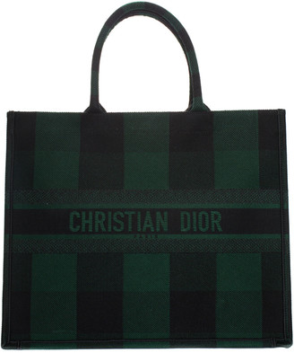 Christian Dior 2019 Green Canvas Checkered Book Tote, Never Carried