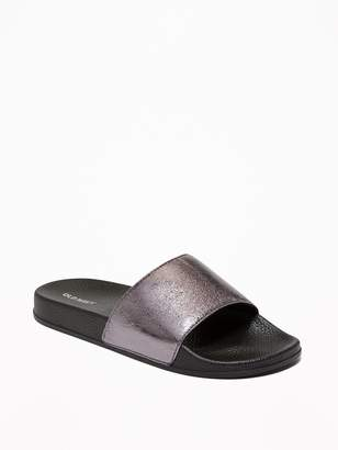 Old Navy Faux-Leather Pool Slide Sandals for Women