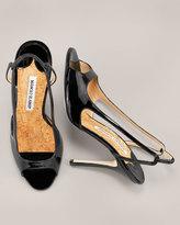 Patent Peep-Toe Slingback, Black