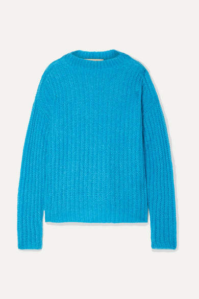 Marni Ribbed Mohair-blend Sweater - Azure