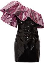Saint Laurent One-shoulder Ruffled Sequined Silk Mini Dress - Pink