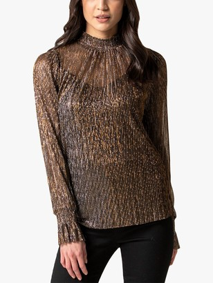 Forever New Frankie Metallic Plisse Top, Bronze