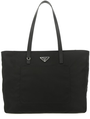 Prada Triangle Logo Tote Bag