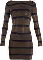 Balmain Boat-neck crystal-embellished striped mini dress