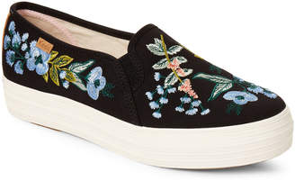 Rifle Paper Co. Keds X Black Triple Decker Embroidered Platform Sneakers