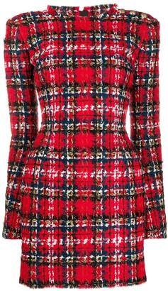 Balmain Tartan tweed mini dress