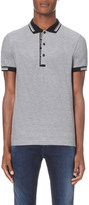 HUGO BOSS Striped-trim cotton-jersey polo shirt
