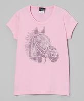 A Wish Pink Rhinestone Horse Portrait Tee - Toddler & Girls