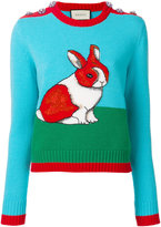 Gucci embroidered bunny sweater