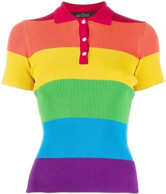 Rokh Rainbow Striped Polo Shirt