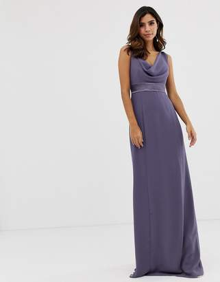 Maids To Measure Maids to Measure bridesmaid maxi dress with satin belt and cowl neck-Purple