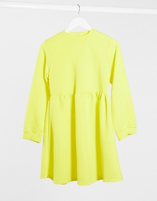 Rokoko Plus oversized smock sweat dress in buttercup yellow