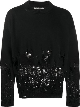 Palm Angels Distressed Logo Intarsia Sweater