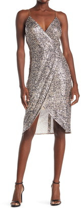 Laundry by Shelli Segal Sequin Mesh Faux Wrap Midi Dress