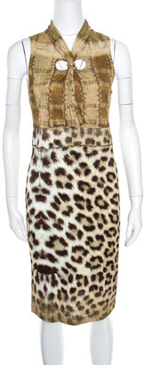 Roberto Cavalli Class by Multicolor Animal Printed Snake Buckle Detail Cutout Back Dress M