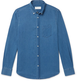 Officine Generale Antime Slim-Fit Button-Down Collar Herringbone Denim Shirt