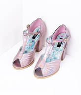 Iron Fist Light Pink Mother Of Pearl Iridescent Peep Toe Heels Shoes