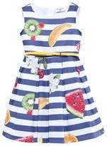 MonnaLisa Blue Stripe Fruit Print Belted Dress