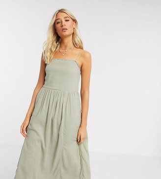 Asos Tall ASOS DESIGN Tall cami midi tiered crinkle sundress in khaki