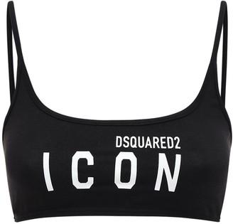DSQUARED2 Logo Print Jersey Bandeau Crop Top