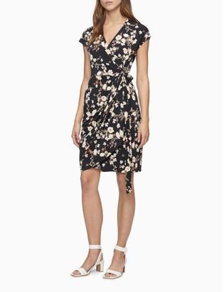 Calvin Klein Printed V-Neck Belted Wrap Dress