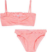 Melissa Odabash Neon Coral and White Ribbed Bikini