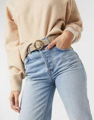 ASOS DESIGN waist and hip jean belt in square weave with twist circle buckle in beige