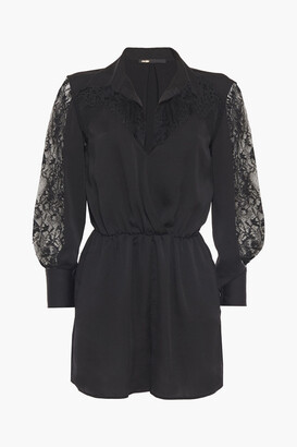 Maje Satin-crepe And Lace Playsuit