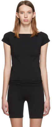 Helmut Lang Black Open Boat Neck T-Shirt