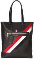 Thom Browne Pebbled Leather Tote Bag W/ Stripes