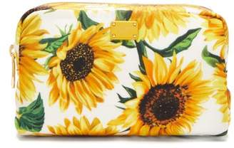 Dolce & Gabbana Sunflower Print Cosmetic Case - Womens - White Multi