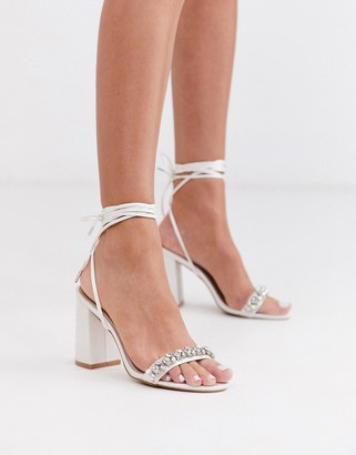 Be Mine Bridal Penelope heeled sandals with embellished strap in ivory satin