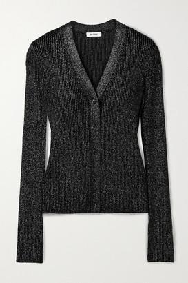 RE/DONE 60s Metallic Ribbed Wool Cardigan - Black