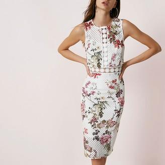 River Island Cream floral print lace bodycon midi dress