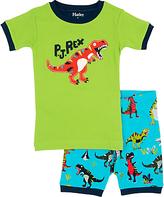 Hatley Children's Roaring T-Rex Shortie Pyjamas, Green/Blue