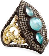 Armenta Old World Marquis Peruvian Opal & Diamond Shield Ring