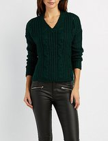 Charlotte Russe Cable Knit V-Neck Sweater