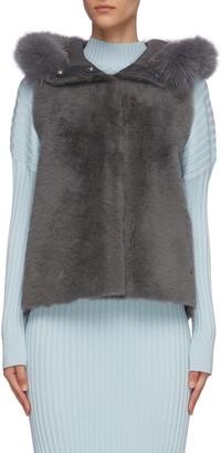 Karl Donoghue Fox fur trim hood lambskin shearling gilet